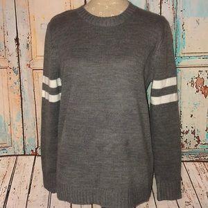 F21~Grey Knit Crewneck Varsity Sweater~M